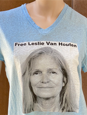 "26. ""FREE LESLIE VAN HOUTEN""  Vincent Gallo 2020 one-of-a-kind, hand made T-shirt"