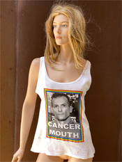 "49. ""CANCER MOUTH""  Vincent Gallo 2020 one-of-a-kind, hand made T-shirt"