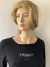 """Trump 45, The Greatest""  Vincent Gallo. 2020, hand made cashmere sweater"