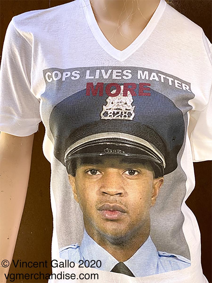 """23. """"COPS LIVES MATTER MORE""""  Vincent Gallo 2020 (modeled print detail)"""