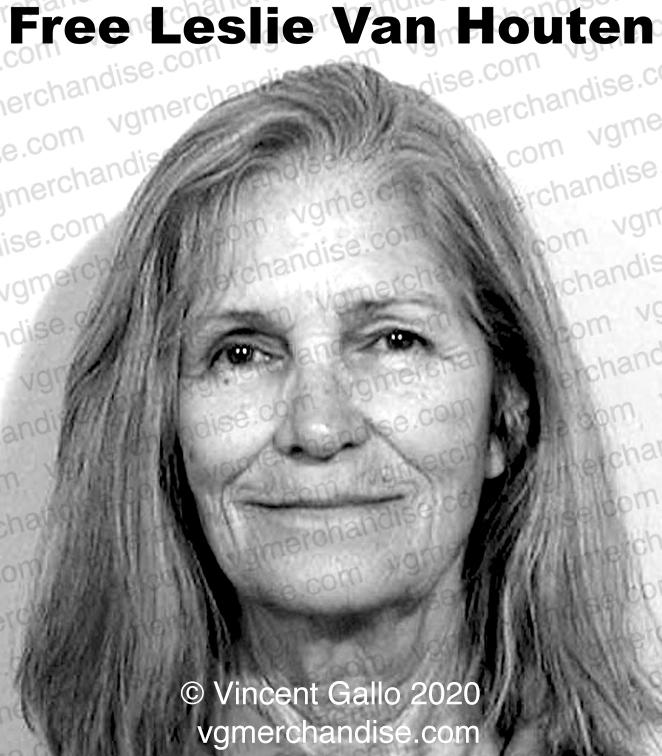 "26. ""FREE LESLIE VAN HOUTEN""  Vincent Gallo 2020 (print detail)"