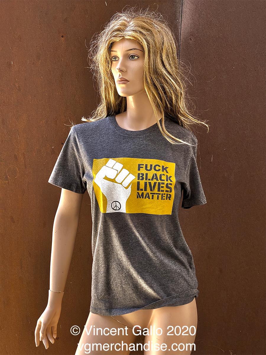 """29. """"FUCK BLACK LIVES MATTER""""  Vincent Gallo 2020 (modeled)"""