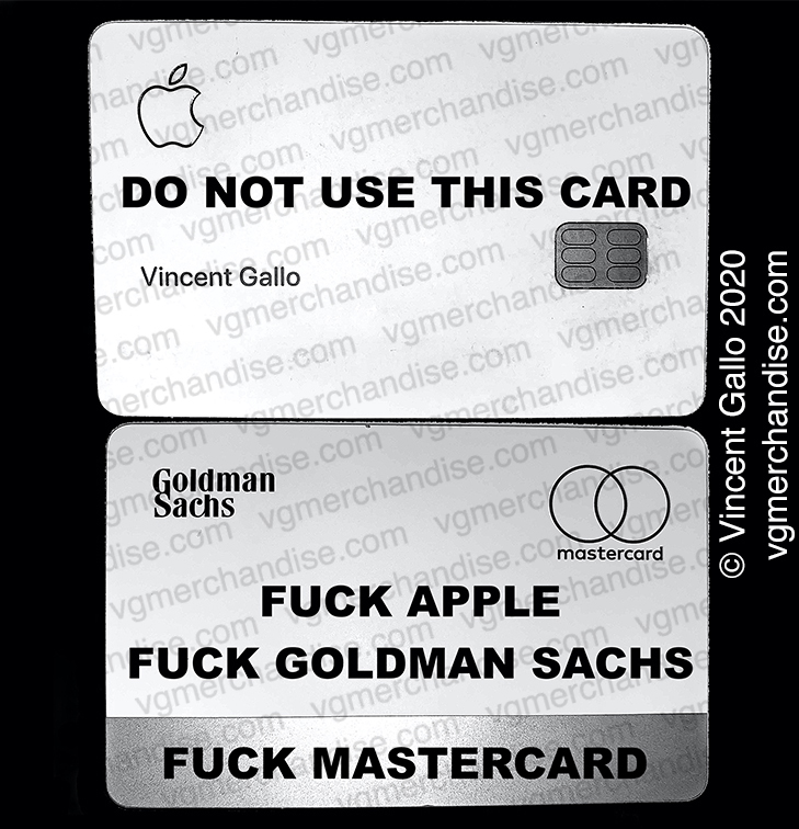 """45. """"DON'T USE THIS CARD""""  Vincent Gallo 2020 (print detail)"""