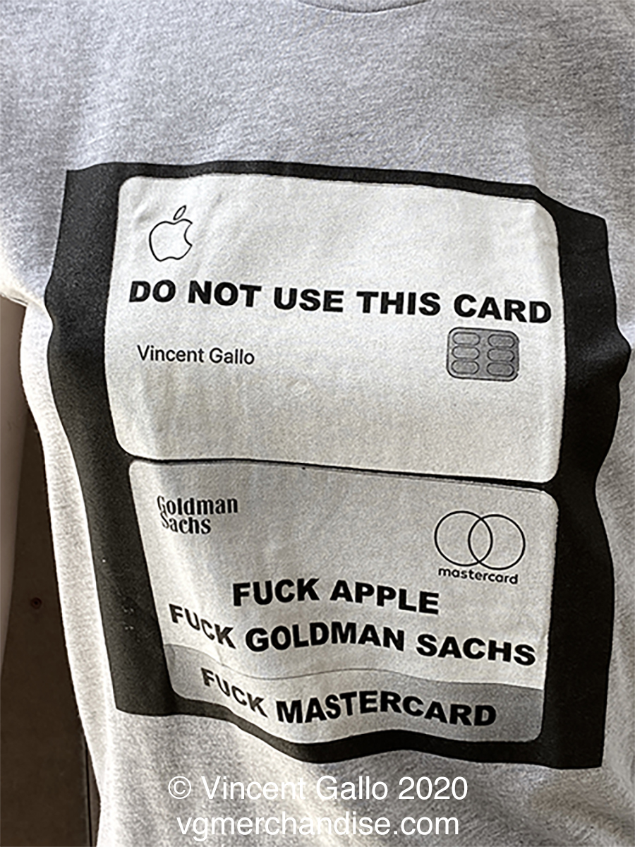 """45. """"DON'T USE THIS CARD""""  Vincent Gallo 2020 (print detail modeled)"""