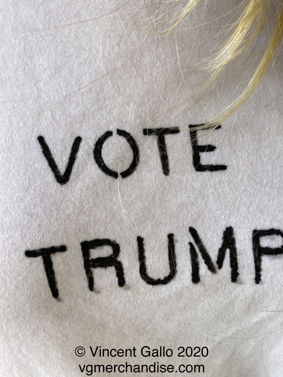 """Vote Trump""  Vincent Gallo. 2020 hand made t-shirt (close-up)"