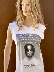 "24. ""I TAKE NO RESPONSIBILITY""  Vincent Gallo 2020 one-of-a-kind, hand made T-shirt"