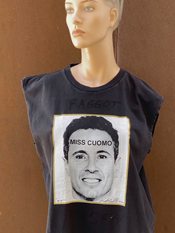 "04. ""MISS CUOMO""  Vincent Gallo 2020 one-of-a-kind, hand made T-shirt"