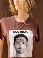"46. ""SCUMBAG""  Vincent Gallo 2020 one-of-a-kind, hand made T-shirt"