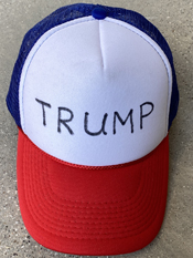 """My Trump Hat""  Vincent Gallo. 2020, hand made hat"
