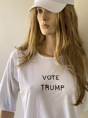 """Vote Trump""  Vincent Gallo. 2020, hand made t-shirt"