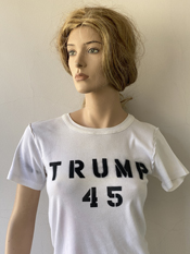 """Trump 45 , Trump 45, Trump 45""  Vincent Gallo. 2020, hand made t-shirt"